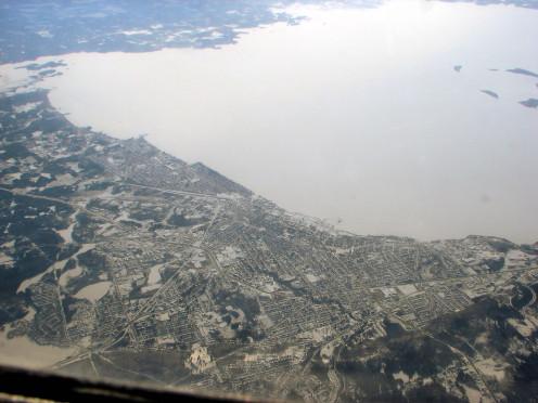 Aerial view of North Bay and Lake Nipissing, Ontario, Canada