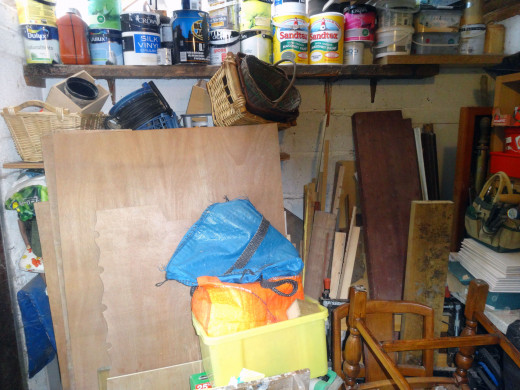 The scrap wood stored at the back on my workshop.
