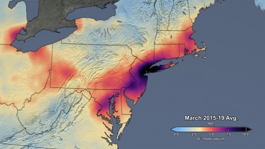 Pollution Northeast US, March 2015-March 2019 (Average)