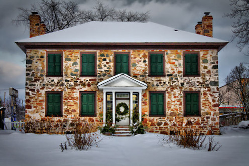 """Ermatinger """"Old Stone House"""" in Sault Ste Marie, Ontario, Canada."""