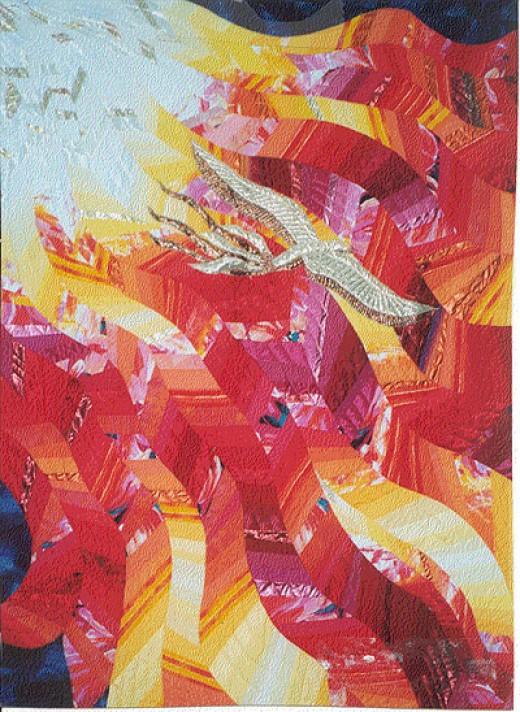 """Pentecost,"" Quilt 80 x 112 by Linda Schmidt, Textile Artist, Quilter and Designer."