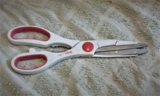 Well-worn kitchen scissors.