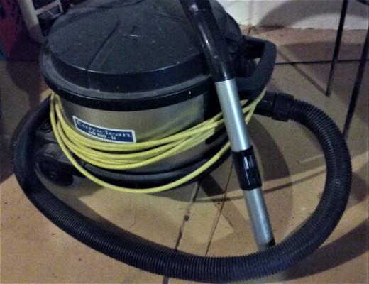 A HEPA shop vacuum cleaner.
