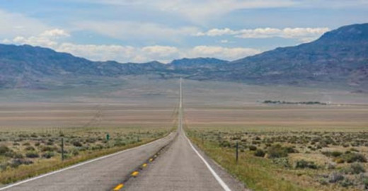 The lonely two-lane Highway 6 in Nevada is one of the most deserted roads in the country.