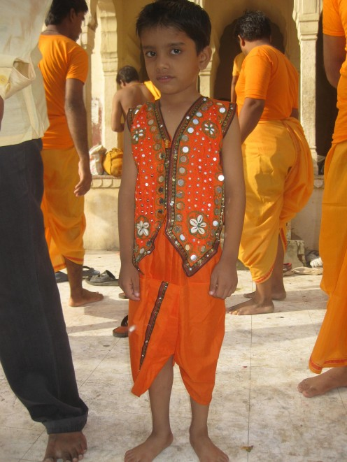 Small kid in Kesariya Bandi and Dhoti: Uncommon Dresses Jaipur