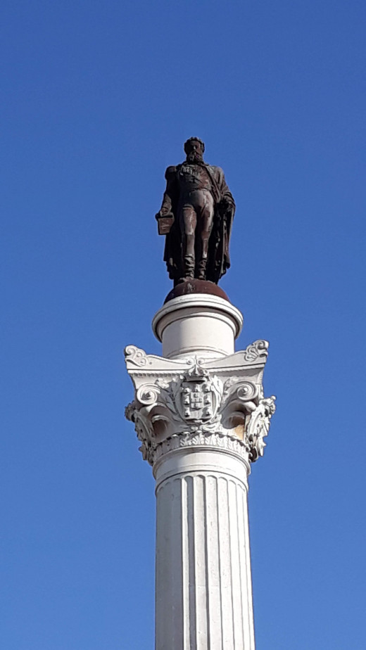 Statue of Peter IV on the Rossio square in Lisbon.