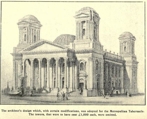Original plans for the Metropolitan Tabernacle, with 4 towers