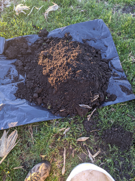 the dirt that I dug out of the hole