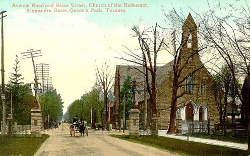 Postcard of the Alexandra Gate and Church of the Redeemer at Avenue Road and Bloor Street, Toronto, Canada. When Avenue Road was widened in 1960, the gate was moved to the Bloor Street entrance of Philosopher's Walk. (Photographer unknown)