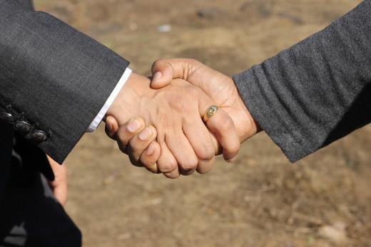 Goodbye handshake.