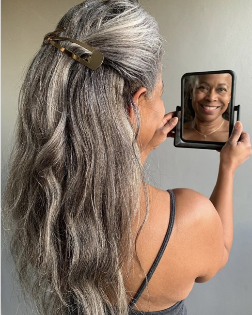 Rock your long gray tresses.