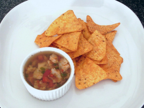 Fajitas spiced jellied cod with peppers served with hot and spicy tortilla chips