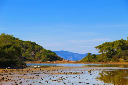 Panorama of Agistri island in Greece