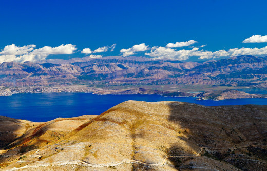 Famous Pantokrator view and landscape of Corfu island