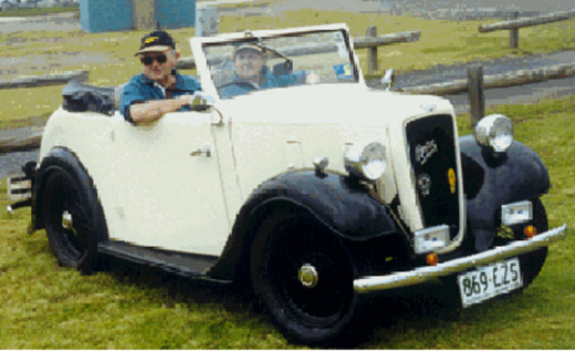 1936 Austin Seven Roadster   Entry number 55  Driver Frank Pilgrim Navigator Marion Pilgrim  I met Frank at the Oz 2000 rally. I took a photo of the Austin and got copies of the three photos below that Frank had taken during the restoration process,