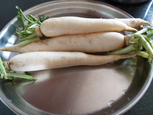 Take 2-3 radish (or as required) and wash it.