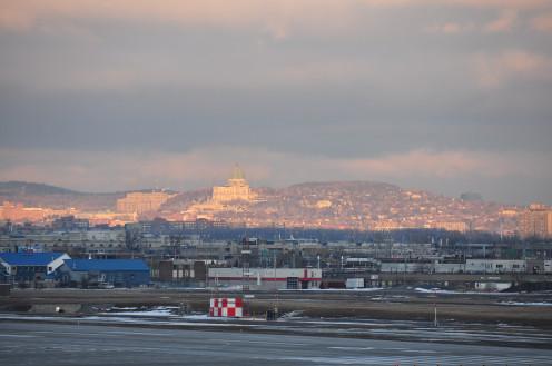 Oratoire St-Joseph and Westmount (Mont Royal) from Montréal-Pierre Elliott Trudeau International Airport
