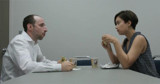 Hanan Harchol (Dov Tiefenbach) seeks the advice of fellow teacher Ana Martinez (Aurora Leonard). Screenshot by author.