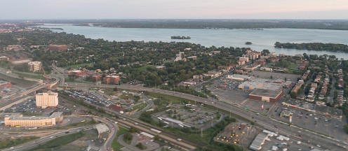 Aerial view of Dorval during a flight between YUL and CDG.