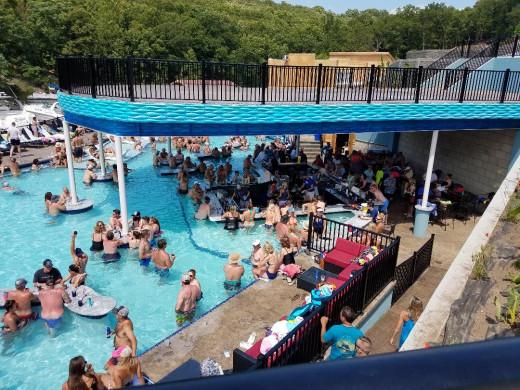 The swim-up bar at Backwater Jacks.