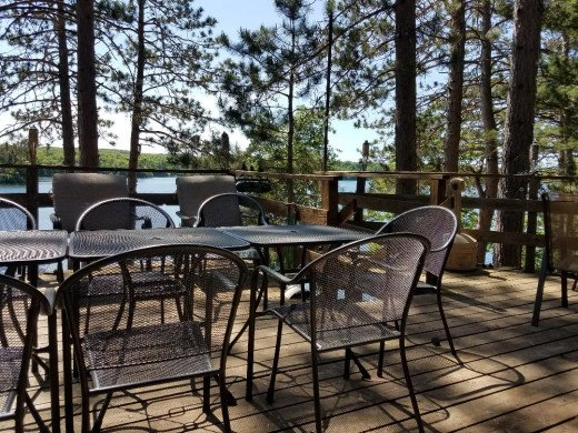 A view through the pines at Pine Point Lodge on Twin Bear Lake, Wisconsin.