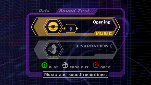 The sound test in Smash Bros Melee.