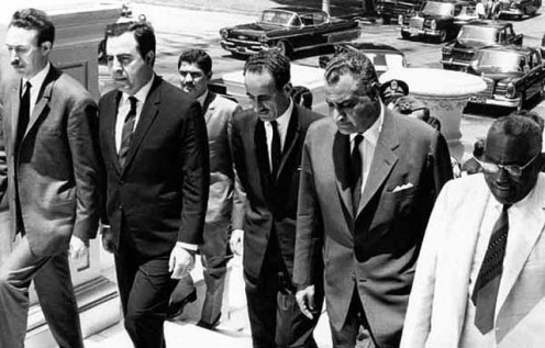 Arab leaders assembled in Cairo in 1968. From left to right: President Boumédiène of Algeria, President Atasi of Syria, President Aref of Iraq, and President Nasser of Egypt. The fifth person (extreme right) is President Azhari of Sudan.