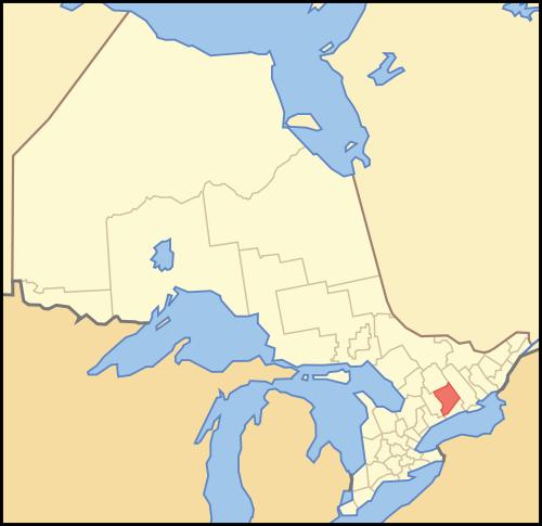 Map location of Peterborough County, Ontario