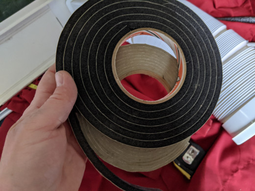 Foam weather tape to seal edges between window frame and window