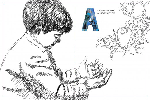 The chosen thumbnail drawing with the collaged A.