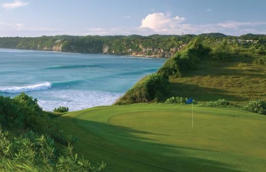 A pristine golf course by the sea
