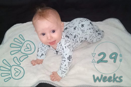 This progress photo shows my daughter had begun crawling by 29 weeks of age.