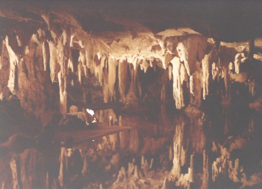A reflecting pool that gives the illusion it's much deeper than it is.  Luray Caverns, VA