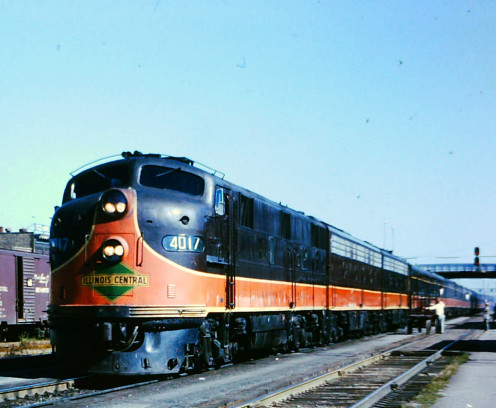 """""""The City of New Orleans"""" train at Kankakee, Illinois in 1964. Subject of Arlo Guthrie's song of the same name."""