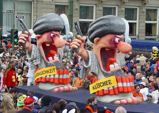 A float displaying Muslim suicide attackers. Though most Muslims are peaceful citizens, those few make Islam greatly feared today.