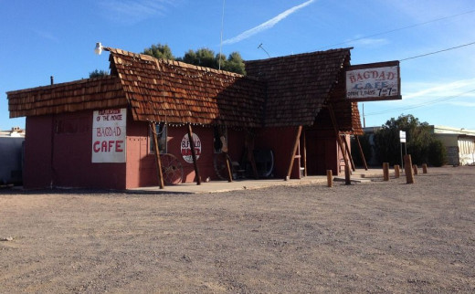 Bagdad Café in Newberry Springs which is located at the base of the Newberry Mountains, 20 miles east of Barstow, California.