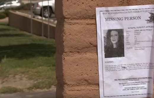 Missing person flier of April Pitzer missing June 28, 2004 from Newberry Springs, California.