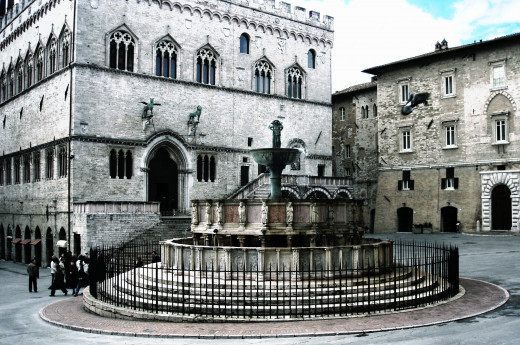 Fontana Maggiore. The centerpiece of Piazza IV Novembre, in Perugia. The griffin is the symbol of Perugia and the lion that of the Guelphs, the medieval faction that supported the pope against the Holy Roman Empire.
