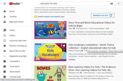Available education videos in Youtube