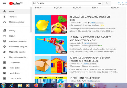 Searchable DIY videos for kids in Youtube
