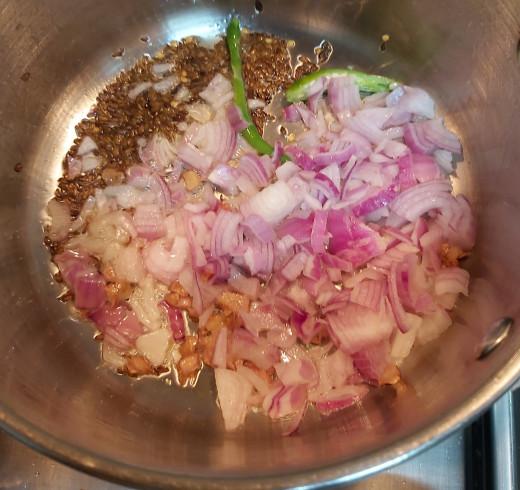 Add chopped onion.