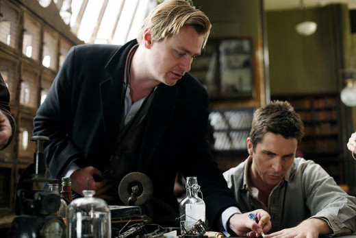 Nolan and Bale on the sets of 'The Prestige'