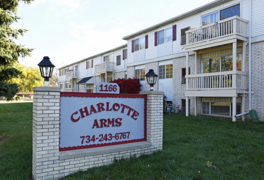 Charlotte Arms Apartments is located near downtown Monroe, Michigan.