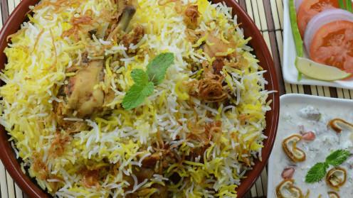 Spicy Chicken Dum Biryani with Raita