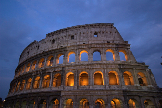 The Colosseum in Rome, Italy. Gladiators, who were slaves, fought to the death for entertainment purposes