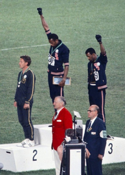 Tommie Smith and John Carlos in 1968 Olympics