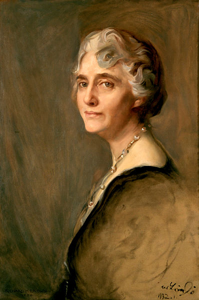 Oil on canvas portrait of First Lady Lou Henry Hoover by Richard Brown.