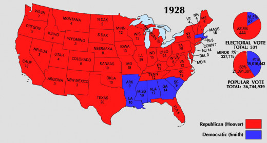 Map of electoral vote for 1928 election.