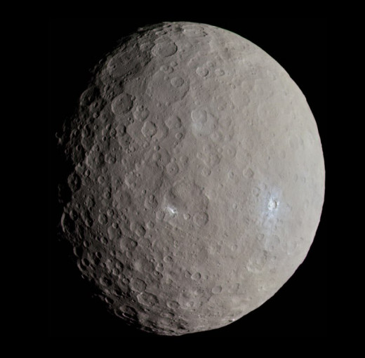 Approximate true-color image of Ceres, using the F7 ('red'), F2 ('green') and F8 ('blue') filters, projected onto a clear filter image. Images were acquired by Dawn at 04:13 UT May 4, 2015, at a distance of 13641 km. At the time, Dawn was over Ceres'