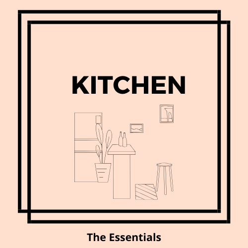 The essential items that you need in your kitchen are cups, plates, cutlery, a kettle and a coffee maker.